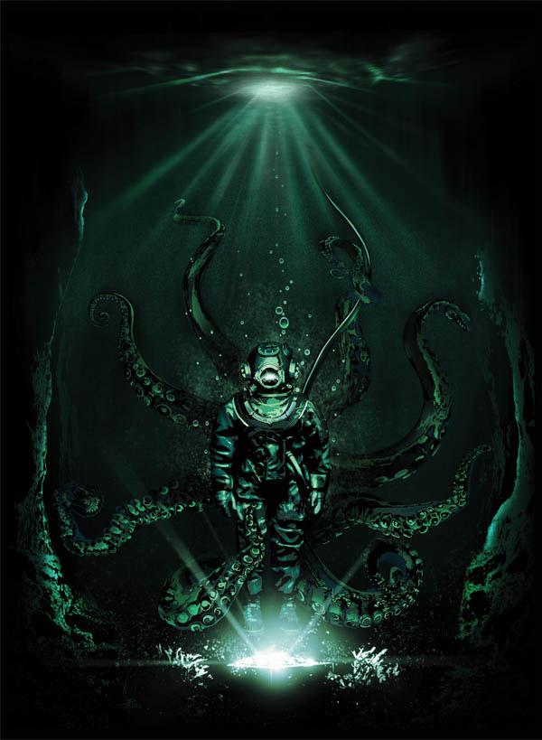 The last dive_www.nikkeystudio.com_heavy metal artwork_album cover_art for bands_scuba diver_cthulu_octapus_Portfolio-Page-Header-Image