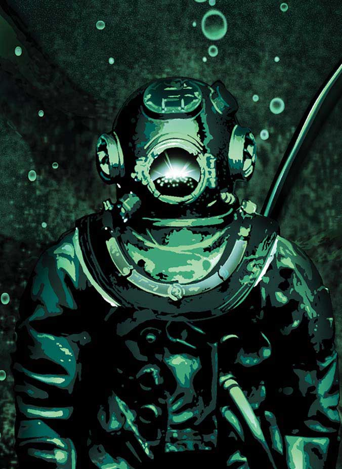 The last dive_www.nikkeystudio.com_heavy metal artwork_album cover_art for bands_scuba diver_cthulu_octapus_Sub2